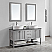 """60"""" Double Vanity in Grey with Glass Countertop with White Vessel Sink With Mirror"""