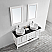 """60"""" Double Vanity in White with Glass Countertop with White Vessel Sink With Mirror"""