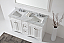 """Talisa 60"""" Double Bath Vanity in White with Marble Top and Square Sink with Faucet and Mirror Options"""