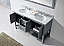 """Winterfell 60"""" Double Bath Vanity in Grey with Marble Top and Round Sink with Faucet and Mirror Options"""