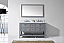 """Winterfell 60"""" Double Bath Vanity in Grey with Marble Top and Square Sink with Faucet and Mirror Options"""