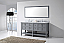 """Winterfell 72"""" Double Bath Vanity in Grey with Marble Top and Round Sink with Mirror Options"""