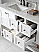"""Winterfell 72"""" Double Bath Vanity in White with Marble Top and Square Sink with Faucet and Mirror Options"""