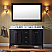 """Khaleesi 60"""" Double Bath Vanity in Espresso with Marble Top and Round Sink, Mirror with Faucet Options"""