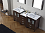 """66"""" Double Bath Vanity in Espresso with Slim White Ceramic Top and Square Sink with Polished Chrome Faucet and Mirrors"""