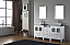 """66"""" Double Bath Vanity in White with Slim White Ceramic Top and Square Sink with Polished Chrome Faucet and Mirrors"""