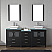 """74"""" Double Bath Vanity in Zebra Grey with Aqua Tempered Glass Top and Square Sink with Brushed Nickel Faucet and Mirrors"""