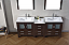 """78"""" Double Bath Vanity in Espresso with Slim White Ceramic Top and Square Sink with Polished Chrome Faucet and Mirrors"""