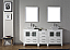 """78"""" Double Bath Vanity in White with Slim White Ceramic Top and Square Sink with Polished Chrome Faucet and Mirrors"""