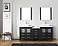 """78"""" Double Bath Vanity in Zebra Grey with Slim White Ceramic Top and Square Sink with Polished Chrome Faucet and Mirrors"""