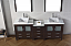 """82"""" Double Bath Vanity in Espresso with Slim White Ceramic Top and Square Sink with Polished Chrome Faucet and Mirrors"""