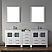 """82"""" Double Bath Vanity in White with Slim White Ceramic Top and Square Sink with Polished Chrome Faucet and Mirrors"""