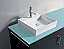 """60"""" Double Bath Vanity in Grey with Aqua Tempered Glass Top and Square Sink with Polished Chrome Faucet and Mirror"""