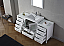 """64"""" Single Bath Vanity in White with Aqua Tempered Glass Top and Square Sink with Polished Chrome Faucet and Mirror"""