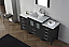 """64"""" Single Bath Vanity in Zebra Grey with Aqua Tempered Glass Top and Square Sink with Polished Chrome Faucet and Mirror"""