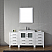 """66"""" Single Bath Vanity in White with Slim White Ceramic Top and Square Sink with Polished Chrome Faucet and Mirror"""