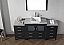 """66"""" Single Bath Vanity in Zebra Grey with Slim White Ceramic Top and Square Sink with Polished Chrome Faucet and Mirror"""