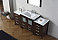 """68"""" Single Bath Vanity in Espresso with Slim White Ceramic Top and Square Sink with Polished Chrome Faucet and Mirror"""
