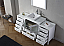 """68"""" Single Bath Vanity in White with Slim White Ceramic Top and Square Sink with Polished Chrome Faucet and Mirror"""