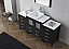 """68"""" Single Bath Vanity in Zebra Gray with Slim White Ceramic Top and Square Sink with Polished Chrome Faucet and Mirror"""