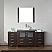 "72"" Single Bath Vanity in Espresso with Aqua Tempered Glass Top and Square Sink with Polished Chrome Faucet and Mirror"