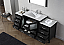 """72"""" Single Bath Vanity in Zebra Grey with Aqua Tempered Glass Top and Square Sink with Polished Chrome Faucet and Mirror"""