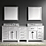 """93"""" Double Bath Vanity in White with Marble Top and Round Sink"""