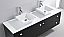 "72"" Double Bath Vanity in Espresso with White Engineered Stone Top and Square Sink with Polished Chrome Faucet and Mirrors"