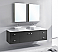"""72"""" Double Bath Vanity in Grey with White Engineered Stone Top and Square Sink with Polished Chrome Faucet and Mirrors"""