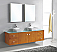 "72"" Double Bath Vanity in Honey Oak with Aqua Tempered Glass Top and Square Sink with Polished Chrome Faucet and Mirrors"
