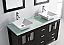 """60"""" Double Bath Vanity in Espresso with Aqua Tempered Glass Top and Square Sink with Polished Chrome Faucet and Mirrors"""