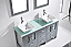 """60"""" Double Bath Vanity in Grey with Aqua Tempered Glass Top and Square Sink with Polished Chrome Faucet and Mirrors"""