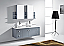 """61"""" Double Bath Vanity in Grey with Aqua Tempered Glass Top and Square Sink with Polished Chrome Faucet and Mirrors"""