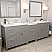 "93"" Double Bath Vanity in Cashmere Grey with Dazzle White Quartz Top and Round Sink with Mirrors"
