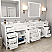"""93"""" Double Bath Vanity in White with Dazzle White Quartz Top and Square Sink with Mirrors"""