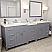 """93"""" Double Bath Vanity in Grey with Dazzle White Quartz Top and Square Sink with Mirrors"""