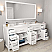 """78"""" Double Bath Vanity in White with Dazzle White Quartz Top and Square Sink with Mirror"""