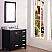 "36"" Espresso Single Sink Bathroom Vanity with White Carrara Marble Top"