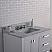 "36"" Pure White Single Sink Bathroom Vanity with White Carrara Marble Top"