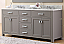 """72"""" Cashmere Grey Double Sink Bathroom Vanity with White Carrara Marble Top"""