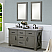 """60"""" Grizzle Grey Double Sink Bathroom Vanity With Counter Top Options"""