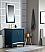 "30"" Single Sink Carrara White Marble Vanity In Monarch Blue Finish"