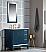 "36"" Single Sink Carrara White Marble Vanity In Monarch Blue Finish"