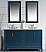 """60"""" Double Sink Carrara White Marble Vanity In Monarch Blue Finish"""
