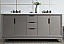 """72"""" Double Sink Carrara White Marble Vanity In Cashmere Grey Finish"""