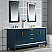 "72"" Double Sink Carrara White Marble Vanity In Monarch Blue Finish"
