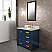 "36"" Single Sink Carrara White Marble Vanity In Monarch Blue Color"