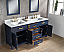 "72"" Double Sink Carrara White Marble Vanity In Monarch Blue Color"