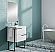 """24"""" Single Sink Vanity 2 Drawer, Ceramic Sink with Metal Legs and Towel Bar"""