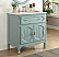 """34"""" Single Sink Victorian Cottage Style Bathroom Vanity Vintage Blue Finish with White Marble Counter Top"""